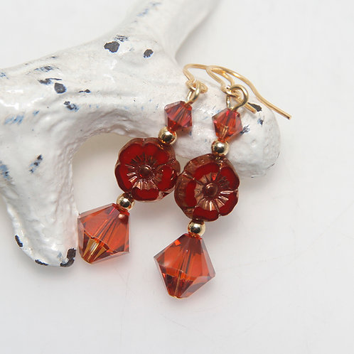 Hibiscus Red and Gold Earrings