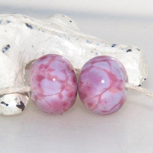 Mottled Pinks Lampwork Glass Bead Pair