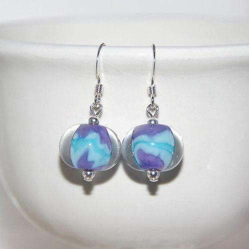 Marbled Purple Aqua Glass Earrings