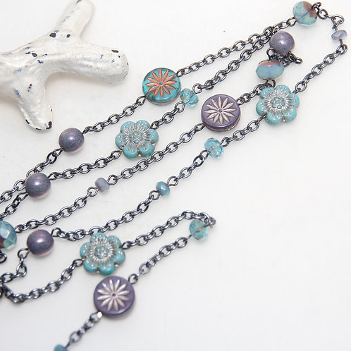 Lilac Sky Daisy Garden Long Black Nickel Chain Necklace