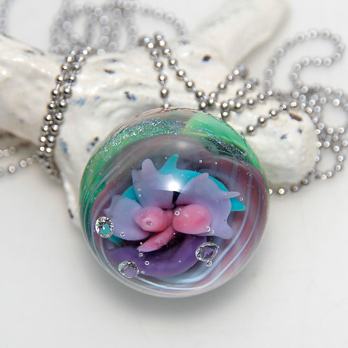 Marble Implosion Pendant with Surgical Steel chain