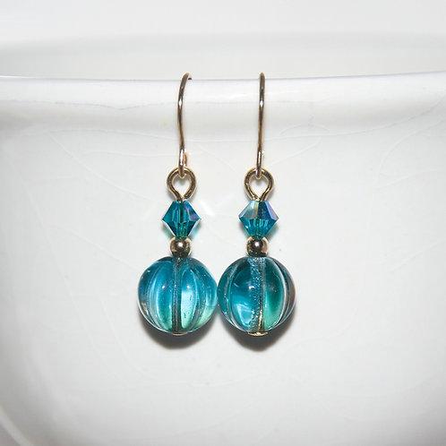 Czech Glass Swarovski Crystal Teal Melon Earrings