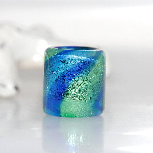 Blue and Green Dichroic Dread Bead 9mm Hole