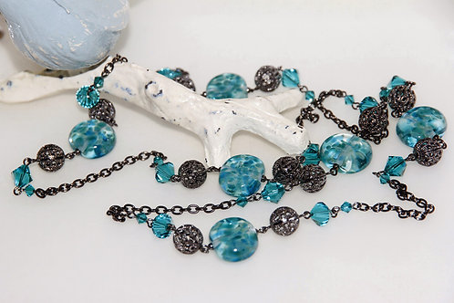 Ocean Teal Speckle Glass Bead Necklace