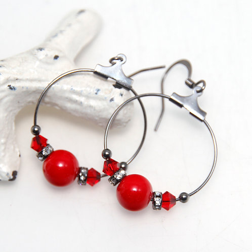 Small Bright Red Hoop Earrings
