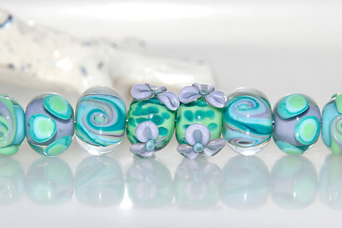 Purple Green and Turquoise Lampwork Glass Bead Set