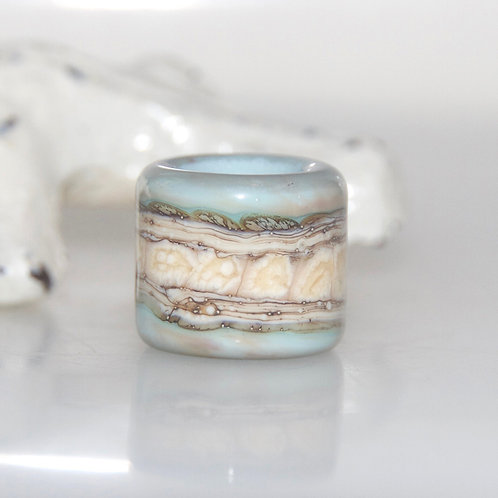 Pale Duck Egg Blue Organic Glass Dreadbaby Bead