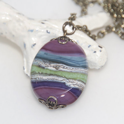 Purple Blue and Green Organic Necklace