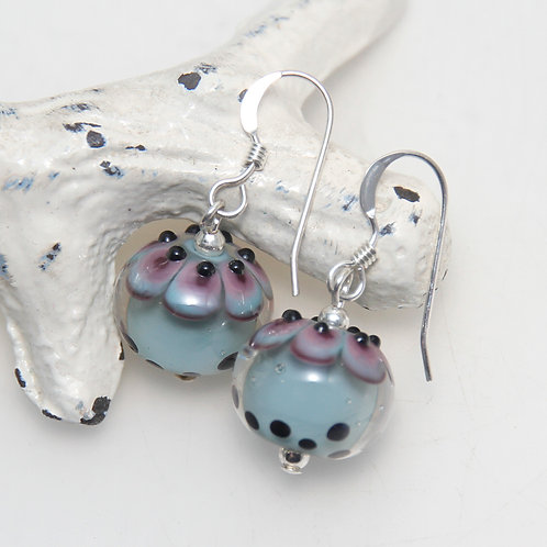 Duck Egg with Purple and Black Top Lampwork Glass Sterling Silver Earrings