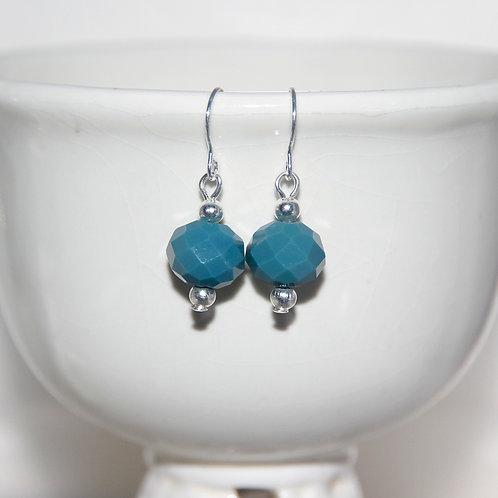 Faceted Denim Blue Earrings
