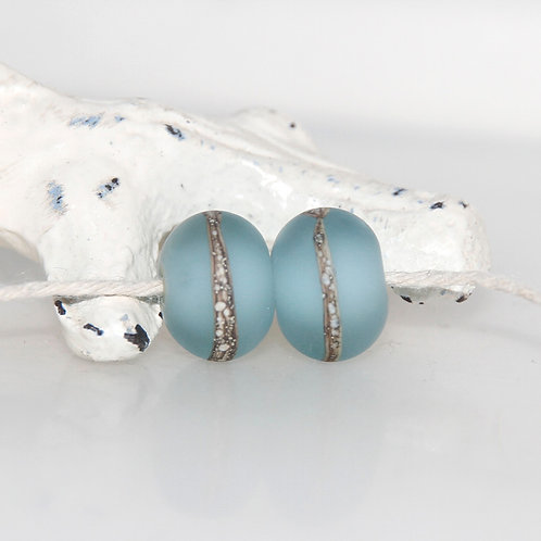 Little Frosted Steel Blue Lampwork Glass Bead Pair