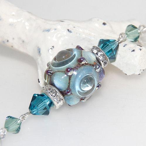 Cosmic Glass Silver Tassel Necklace