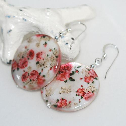 Vintage Floral Shell Earrings
