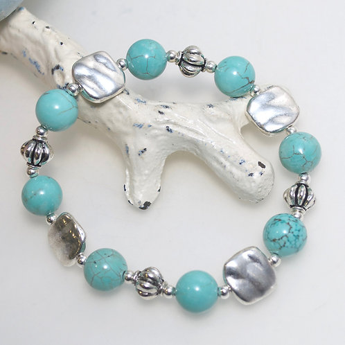 Turquoise Blue and Silver Bracelet