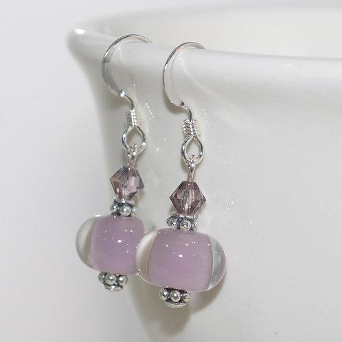 Dusty Mauve Glass Earrings