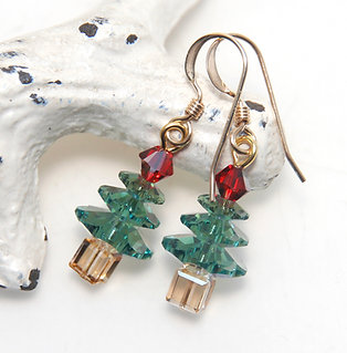 Small Swarovski Christmas Tree Earrings on 14kt Rolled Gold