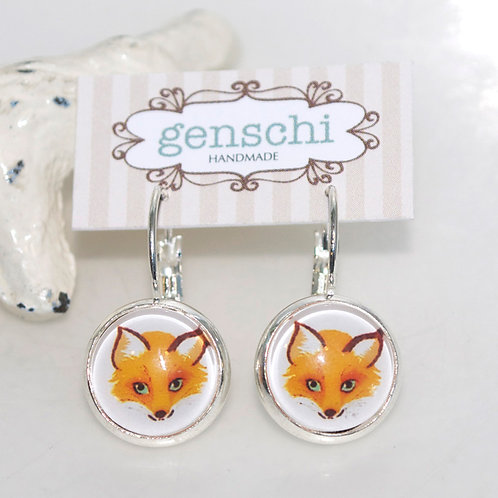 Foxy Dome Glass Earrings with Hinge Hooks
