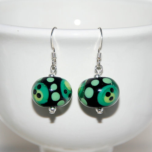 Black and Green SuperSpot Lampwork Glass Sterling Silver Earrings