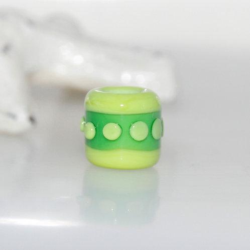 Lime Spotty Dread Bead 5.5mm Hole