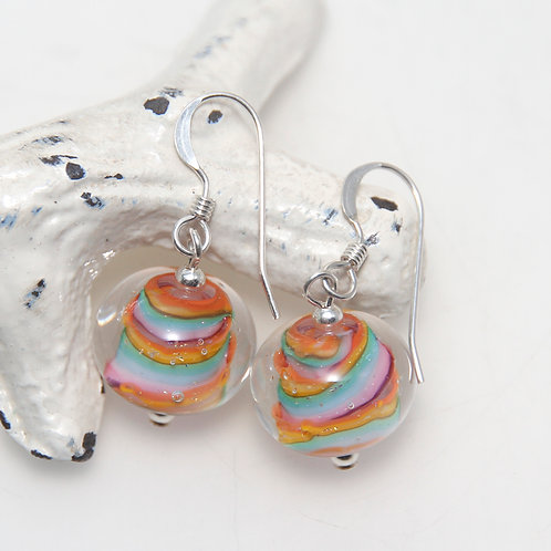 Candy Rainbow Striped Lampwork Glass Sterling Silver Earrings