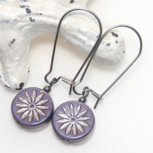 Czech Glass Purple and Platinum Flower Surgical Steel Earrings
