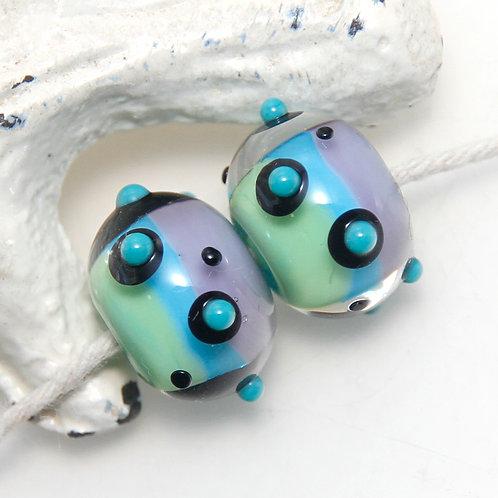 Alien Blue Green and Purple Dotty Stripes Lampwork Glass Bead Pair