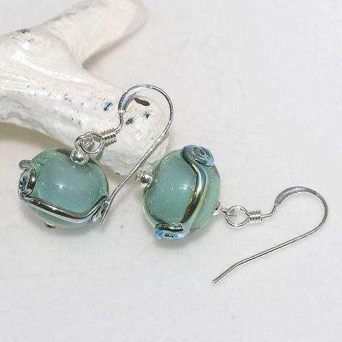 Robins Egg Blue Swirl Earrings