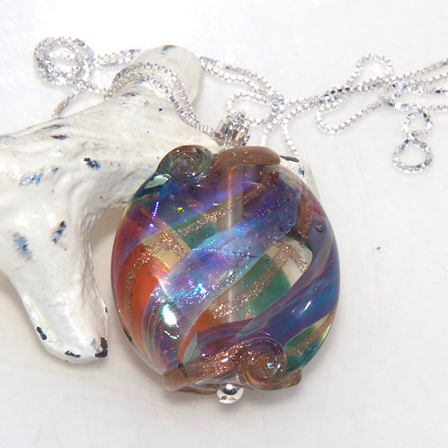 Colourful Lustre Glass Sterling Silver Necklace