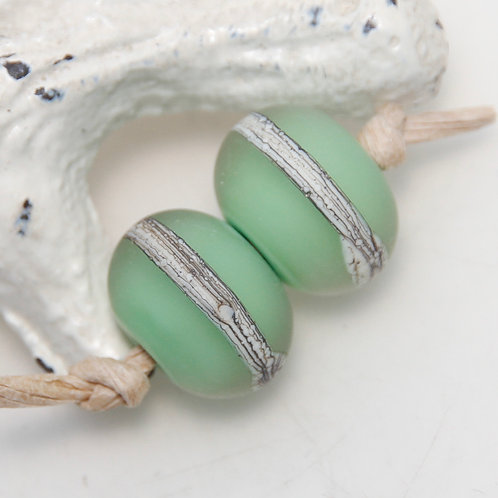 Etched Organic Pastel Green Lampwork Glass Bead Pair
