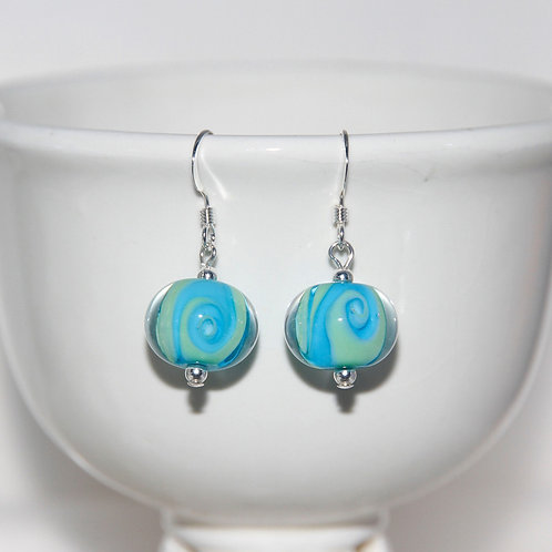 Aqua Blue Green Swirly Glass Earrings