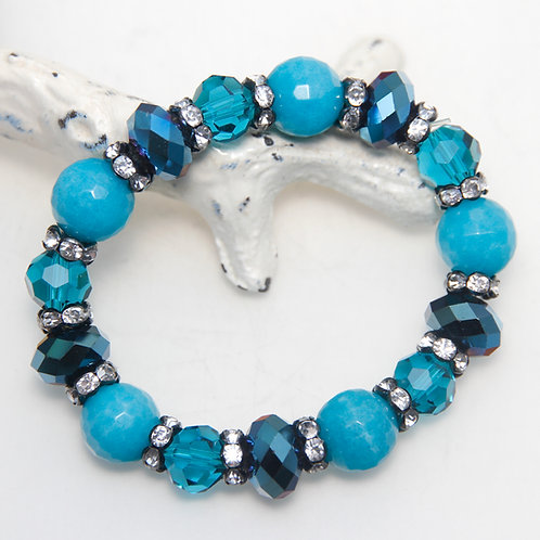 Dark Turquoise Malaysian Jade and Crystal with Sparkles Elastic Bracelet