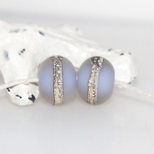 Frosted Lavender Lampwork Glass Bead Pair