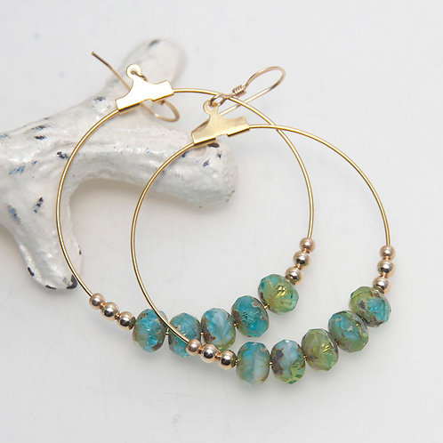 Sunken Treasure Gold Tone Hoop Earrings