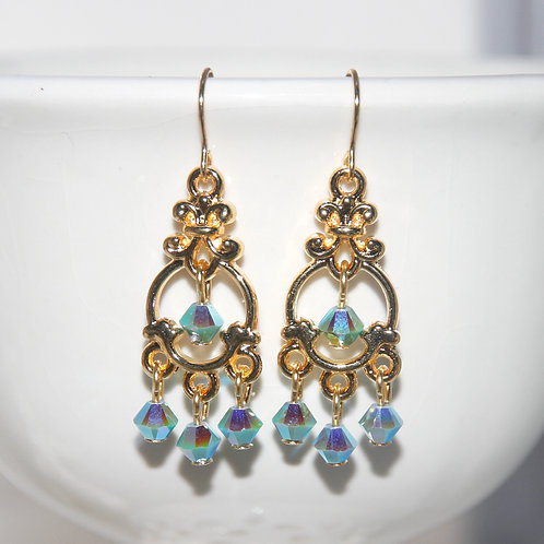 Turquoise AB Swarovski Crystal Chandelier Gold Earrings