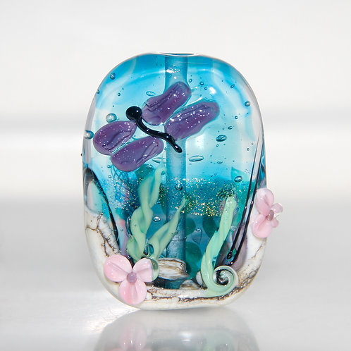 Dragonfly Pond Lampwork Glass Focal Bead
