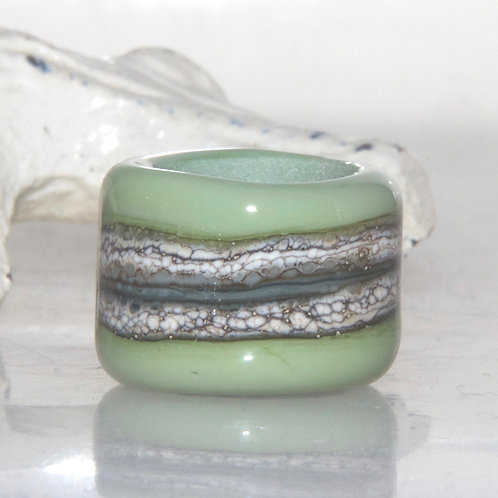 Moss Green Organic Glass Dread Bead