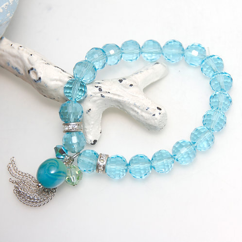 Aqua Blue Tassel Bracelet with Lampwork Glass Bead