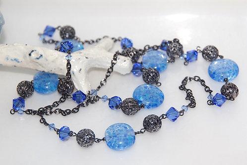 Sapphire Blue Speckle Glass Bead Necklace