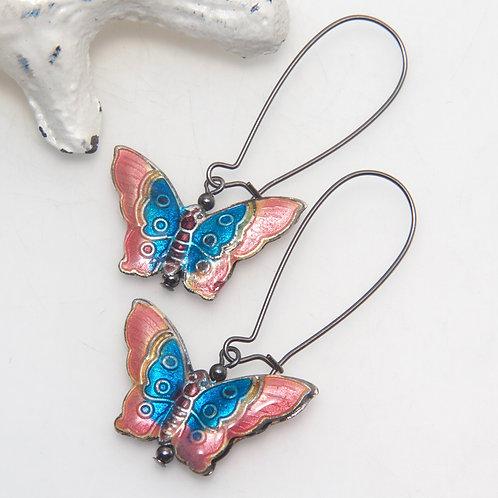 Cloisonne Colourful Butterfly Earrings