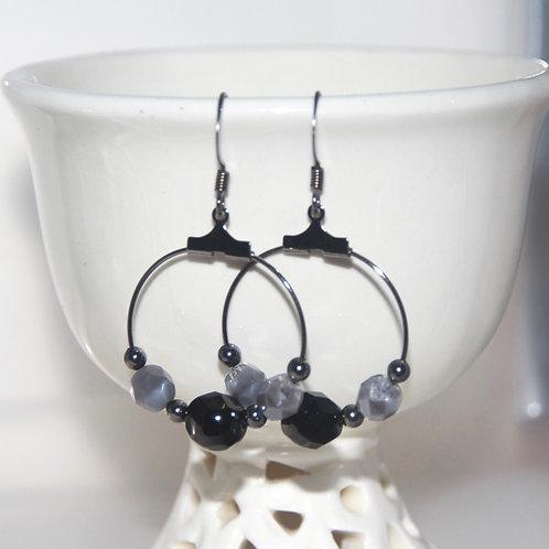 Black and Grey Glass Hoop Earrings
