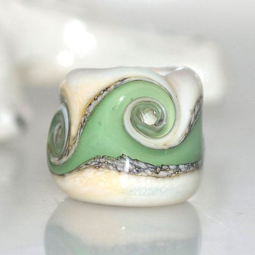 Sage Green Swirl Beach Glass Dread Bead