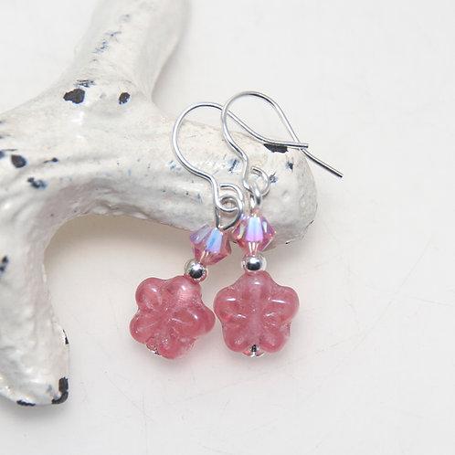Pink Flower with Swarovski Crystal Earrings