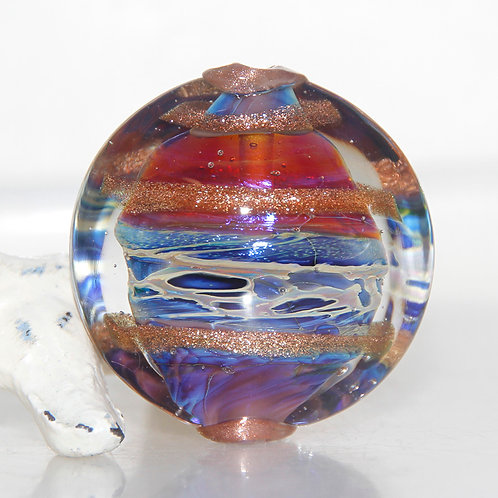 Rich Ethereal Large Lentil Lampwork Glass Bead