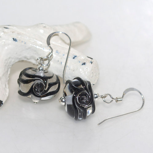 Transparent Swirly Black Glass Earrings