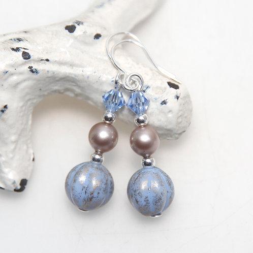 Czech Glass Swarovski Crystal Light Sapphire and Almond Earring Pair