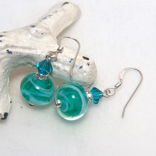 Teal and Whispy White Glass Earrings