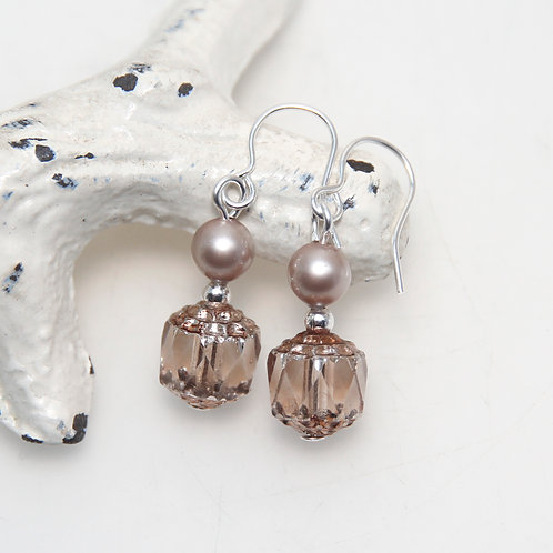 Czech Glass Cathedral Cut with Powder Almond Pearls Earring Pair