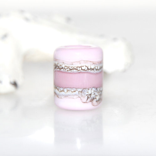 Pastel Pink Organic Glass Dread Bead 5.5mm Hole