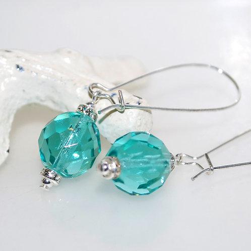 Light Teal Faceted Crystal Drop Earrings
