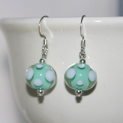 Mint Polkadot Glass Earrings